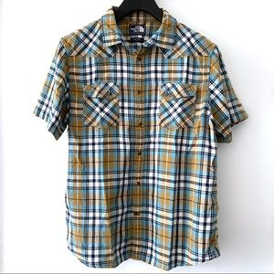 NORTH FACE Short Sleeve Button Down Shirt Plaid L